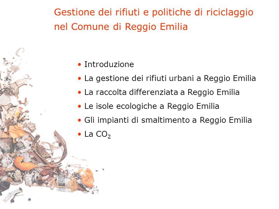 Gestione dei rifiuti e politiche di riciclaggio nel Comune di Reggio Emilia Introduzione La gestione dei rifiuti urbani a Reggio Emilia La raccolta di