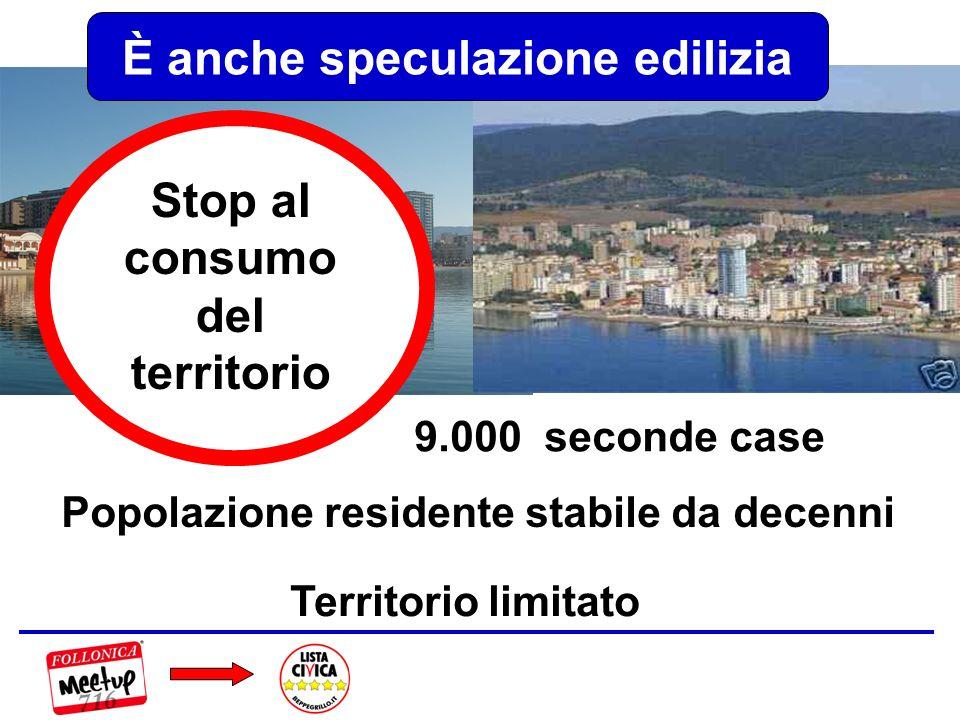 Popolazione residente stabile da decenni Territorio limitato 9.000 seconde case È anche speculazione edilizia Stop al consumo del territorio