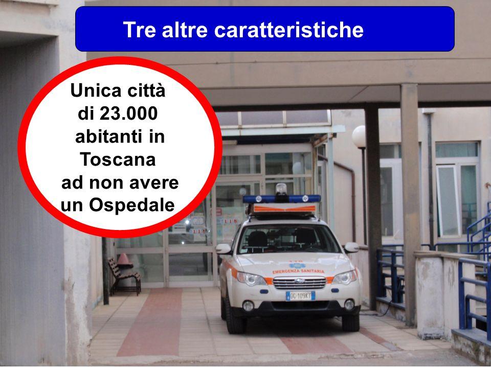 Tre altre caratteristiche Unica città di 23.000 abitanti in Toscana ad non avere un Ospedale