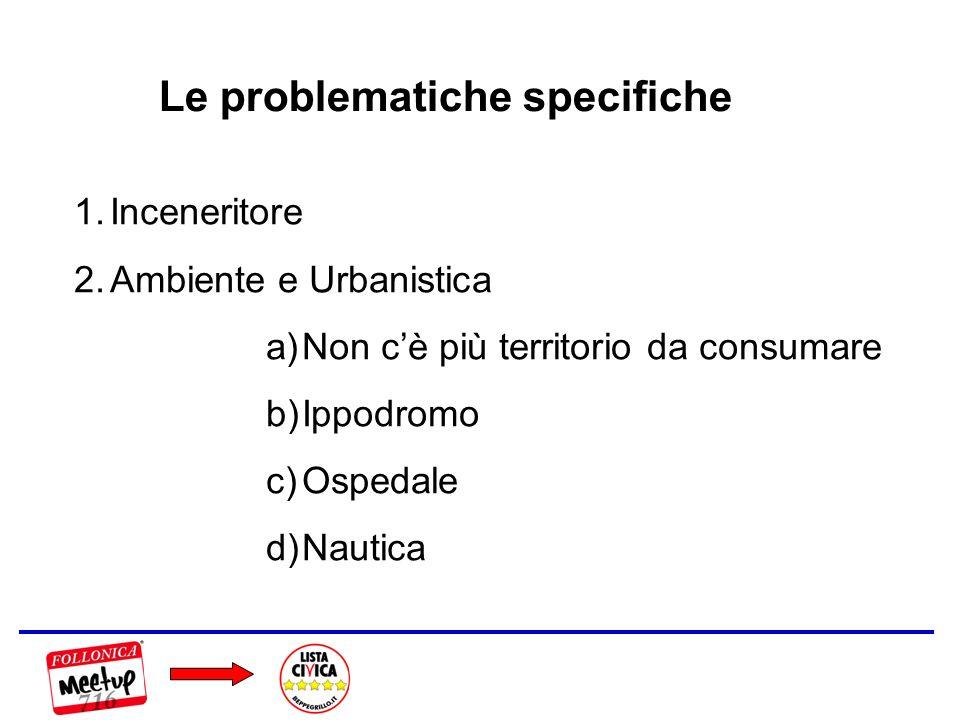 Le problematiche specifiche 1.Inceneritore 2.Ambiente e Urbanistica a)Non cè più territorio da consumare b)Ippodromo c)Ospedale d)Nautica