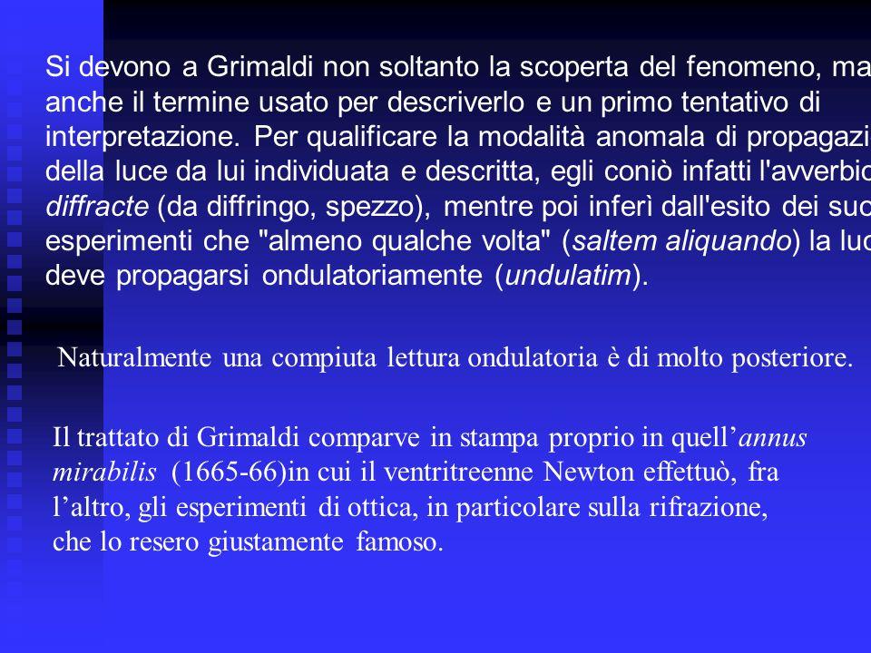 Naturalmente una compiuta lettura ondulatoria è di molto posteriore. Il trattato di Grimaldi comparve in stampa proprio in quellannus mirabilis (1665-