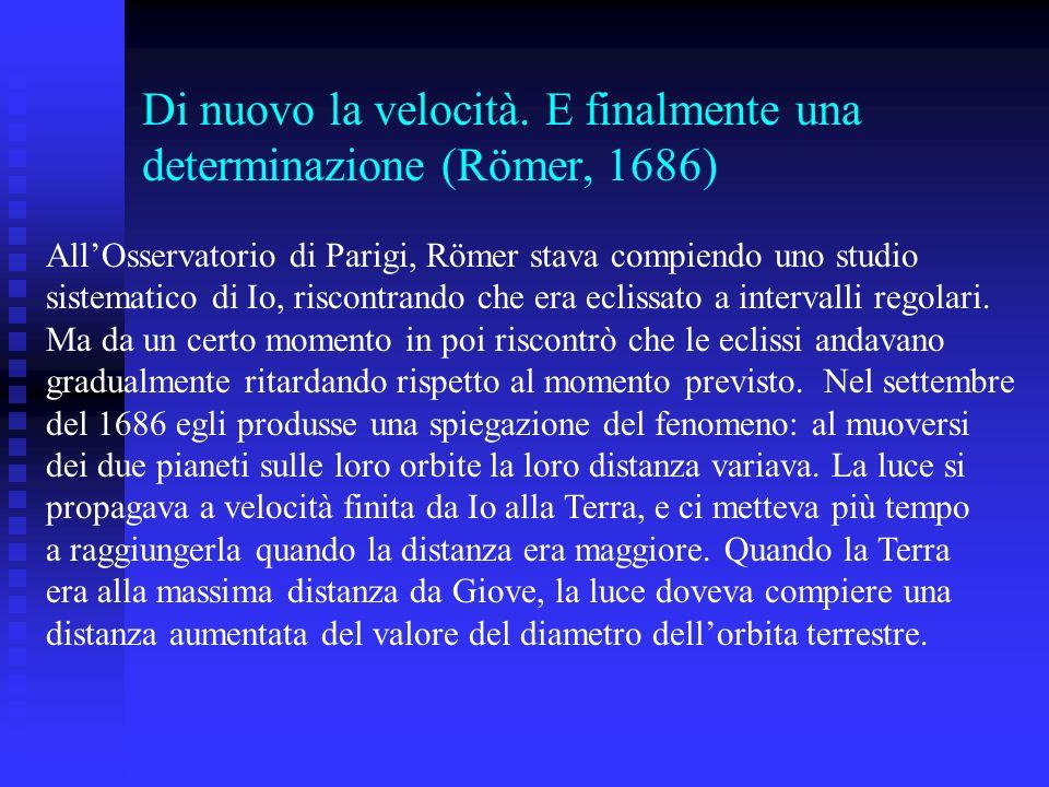 Di nuovo la velocità. E finalmente una determinazione (Römer, 1686) AllOsservatorio di Parigi, Römer stava compiendo uno studio sistematico di Io, ris
