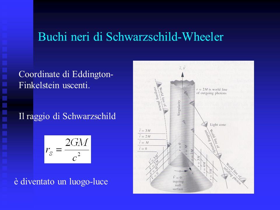 Buchi neri di Schwarzschild-Wheeler Coordinate di Eddington- Finkelstein uscenti. Il raggio di Schwarzschild è diventato un luogo-luce