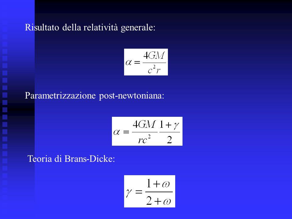 Risultato della relatività generale: Parametrizzazione post-newtoniana: Teoria di Brans-Dicke: