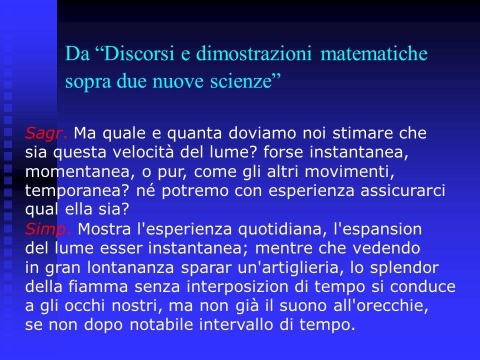 Da Discorsi e dimostrazioni matematiche sopra due nuove scienze Sagr. Ma quale e quanta doviamo noi stimare che sia questa velocità del lume? forse in