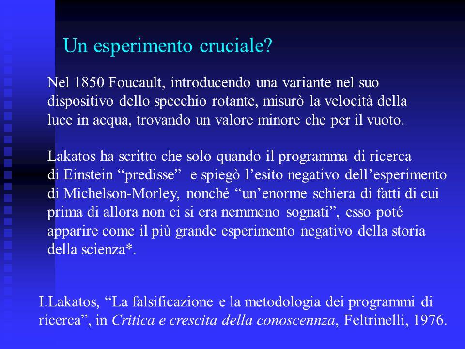 Un esperimento cruciale? Nel 1850 Foucault, introducendo una variante nel suo dispositivo dello specchio rotante, misurò la velocità della luce in acq