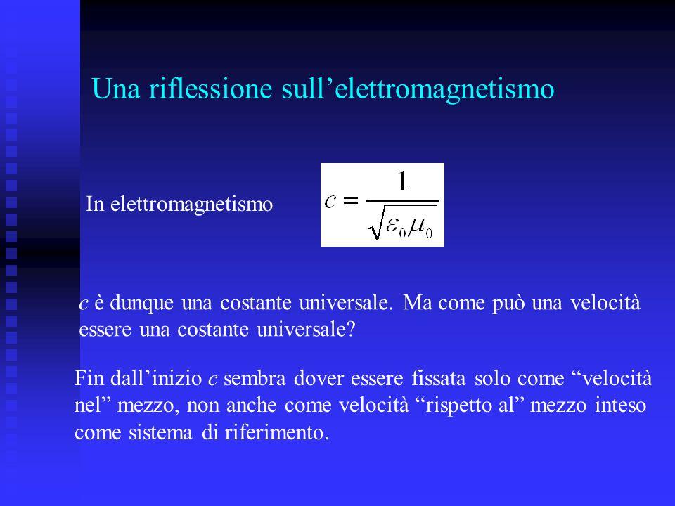 Una riflessione sullelettromagnetismo c è dunque una costante universale. Ma come può una velocità essere una costante universale? In elettromagnetism