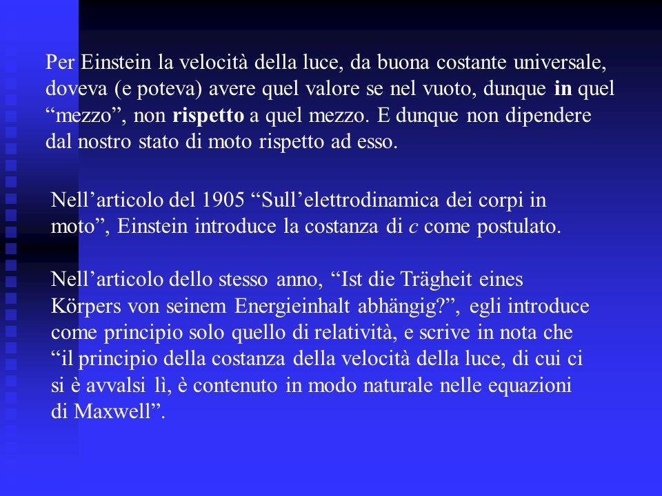 Nellarticolo del 1905 Sullelettrodinamica dei corpi in moto, Einstein introduce la costanza di c come postulato. Nellarticolo dello stesso anno, Ist d