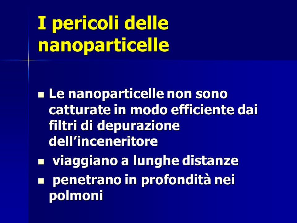 I pericoli delle nanoparticelle Le nanoparticelle non sono catturate in modo efficiente dai filtri di depurazione dellinceneritore Le nanoparticelle non sono catturate in modo efficiente dai filtri di depurazione dellinceneritore viaggiano a lunghe distanze viaggiano a lunghe distanze penetrano in profondità nei polmoni penetrano in profondità nei polmoni