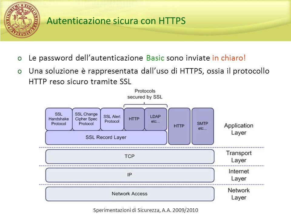 Sperimentazioni di Sicurezza, A.A. 2009/2010 Autenticazione sicura con HTTPS o Le password dellautenticazione Basic sono inviate in chiaro! o Una solu