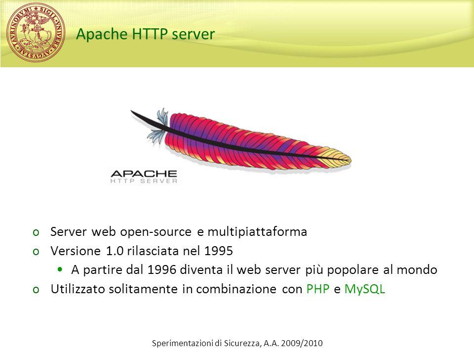 Sperimentazioni di Sicurezza, A.A. 2009/2010 Apache HTTP server o Server web open-source e multipiattaforma o Versione 1.0 rilasciata nel 1995 A parti