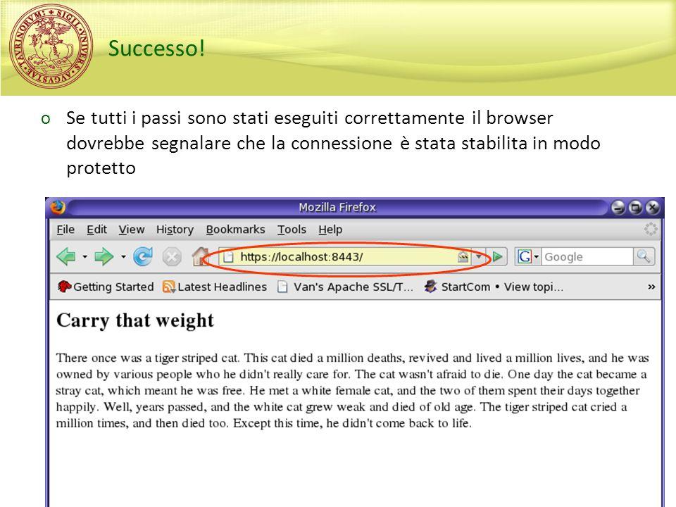 Sperimentazioni di Sicurezza, A.A. 2008/2009 Successo! o Se tutti i passi sono stati eseguiti correttamente il browser dovrebbe segnalare che la conne