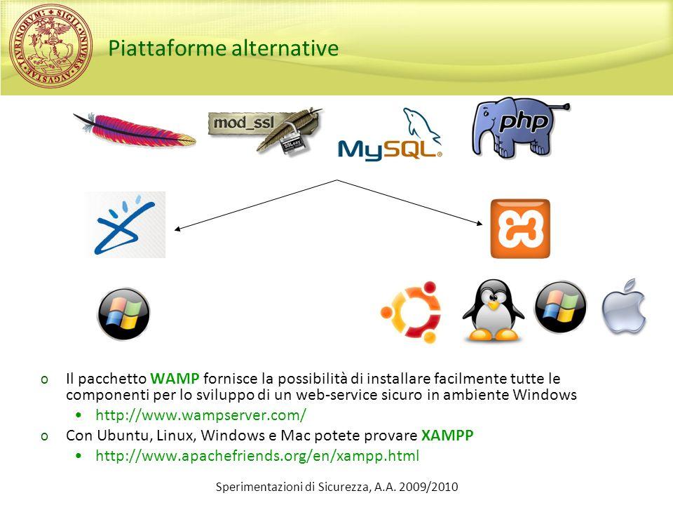 Sperimentazioni di Sicurezza, A.A. 2009/2010 Piattaforme alternative o Il pacchetto WAMP fornisce la possibilità di installare facilmente tutte le com
