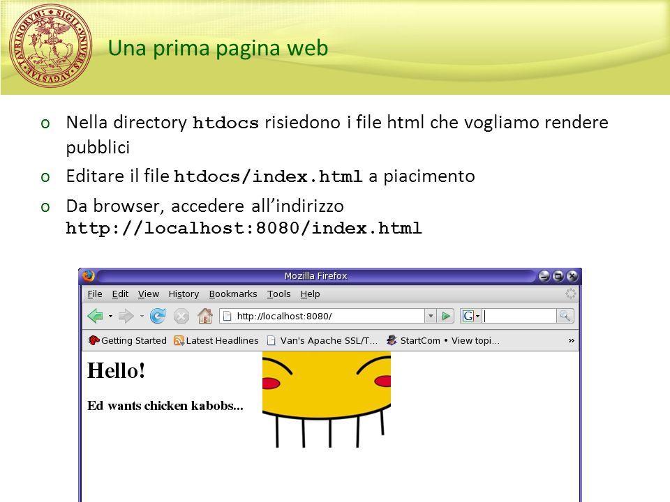 Sperimentazioni di Sicurezza, A.A. 2009/2010 Una prima pagina web o Nella directory htdocs risiedono i file html che vogliamo rendere pubblici o Edita