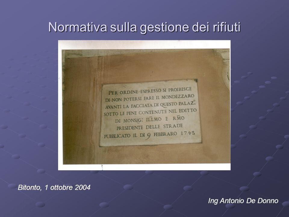 Normativa sulla gestione dei rifiuti Bitonto, 1 ottobre 2004 Ing Antonio De Donno