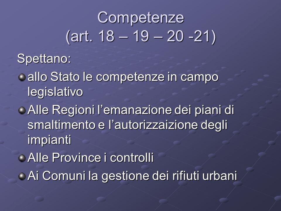 Competenze (art. 18 – 19 – 20 -21) Spettano: allo Stato le competenze in campo legislativo Alle Regioni lemanazione dei piani di smaltimento e lautori