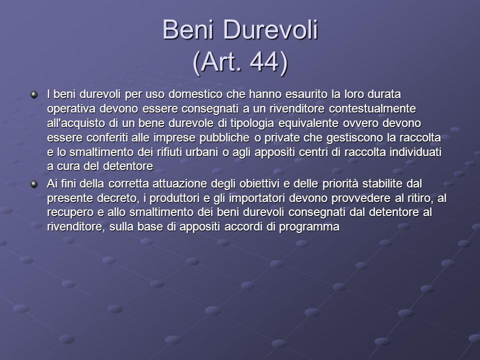 Beni Durevoli (Art. 44) I beni durevoli per uso domestico che hanno esaurito la loro durata operativa devono essere consegnati a un rivenditore contes