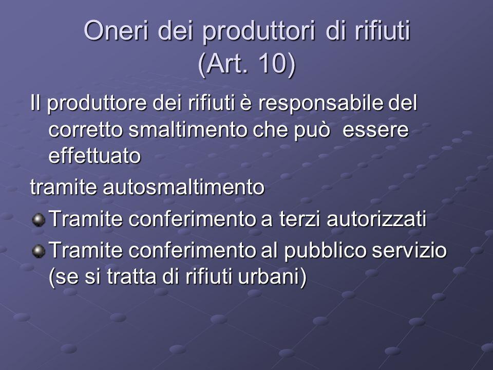 Oneri dei produttori di rifiuti (Art. 10) Il produttore dei rifiuti è responsabile del corretto smaltimento che può essere effettuato tramite autosmal