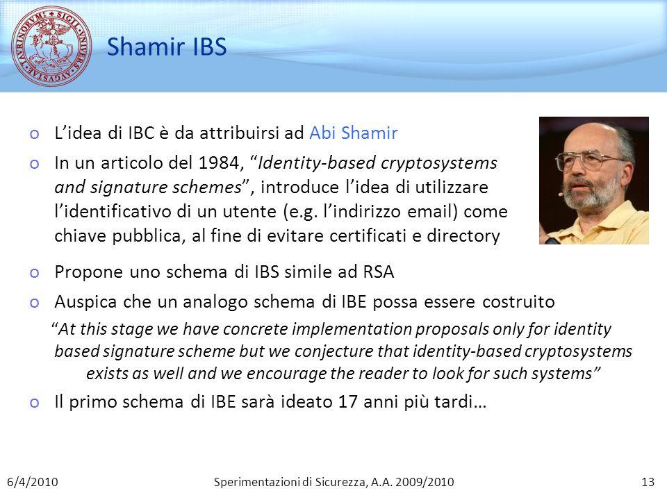 Sperimentazioni di Sicurezza, A.A. 2009/2010 Shamir IBS oLidea di IBC è da attribuirsi ad Abi Shamir oIn un articolo del 1984, Identity-based cryptosy