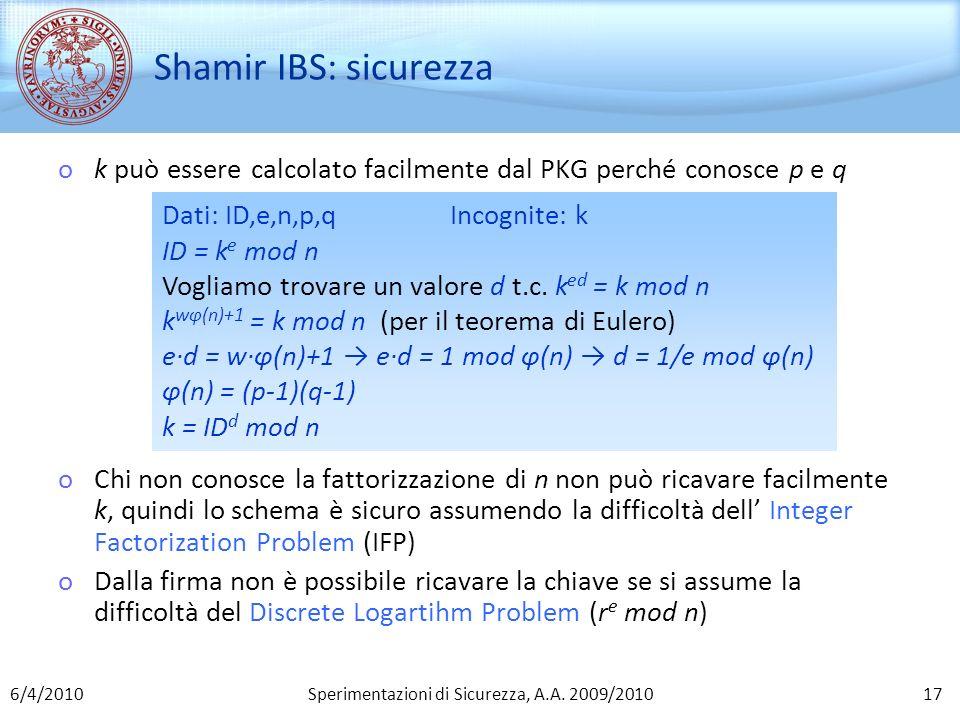 Sperimentazioni di Sicurezza, A.A. 2009/2010 Shamir IBS: sicurezza ok può essere calcolato facilmente dal PKG perché conosce p e q oChi non conosce la
