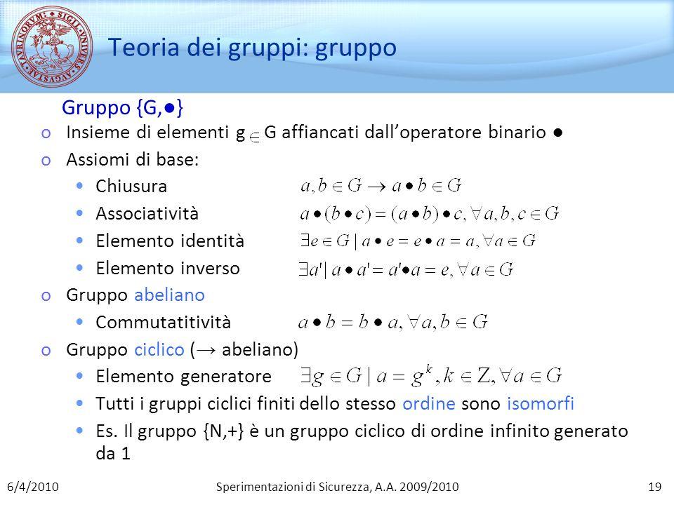 Sperimentazioni di Sicurezza, A.A. 2009/2010 Teoria dei gruppi: gruppo oInsieme di elementi g G affiancati dalloperatore binario oAssiomi di base: Chi