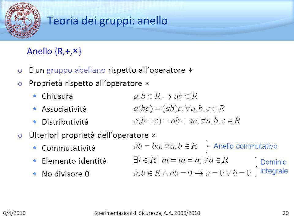 Sperimentazioni di Sicurezza, A.A. 2009/2010 Teoria dei gruppi: anello oÈ un gruppo abeliano rispetto alloperatore + oProprietà rispetto alloperatore