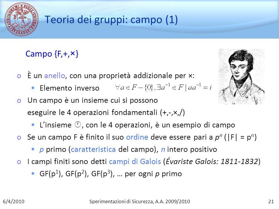 Sperimentazioni di Sicurezza, A.A. 2009/2010 Teoria dei gruppi: campo (1) Campo {F,+,×} oÈ un anello, con una proprietà addizionale per ×: Elemento in