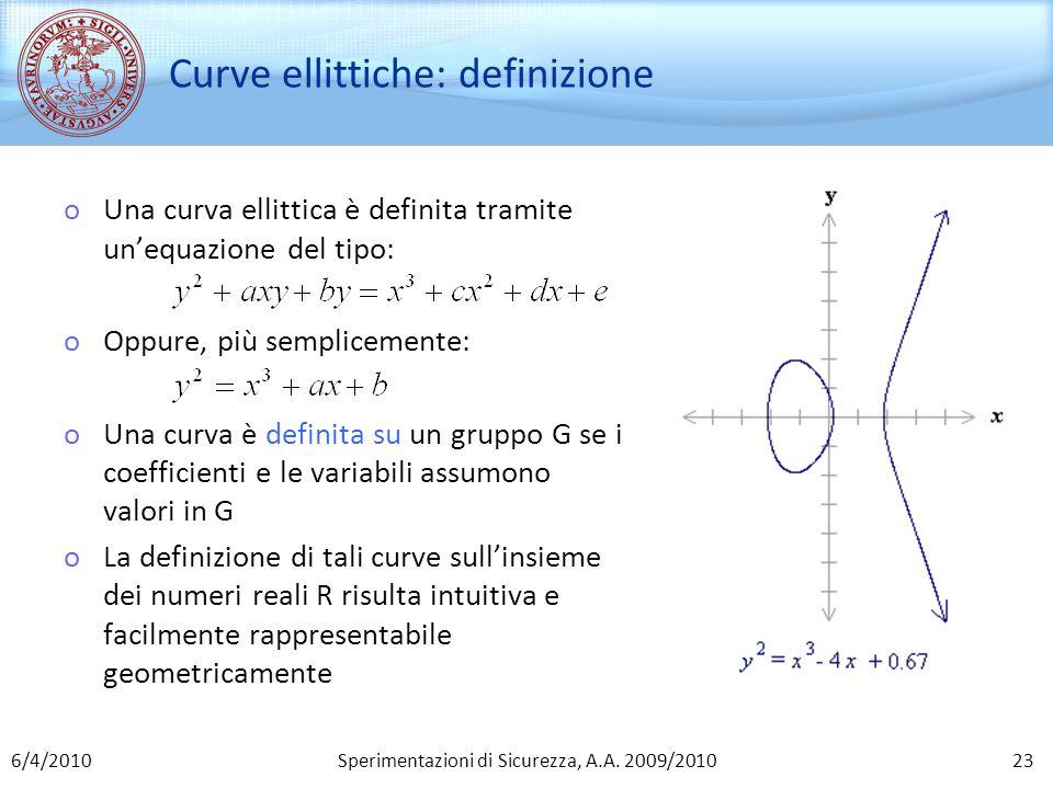 Sperimentazioni di Sicurezza, A.A. 2009/2010 Curve ellittiche: definizione oUna curva ellittica è definita tramite unequazione del tipo: oOppure, più