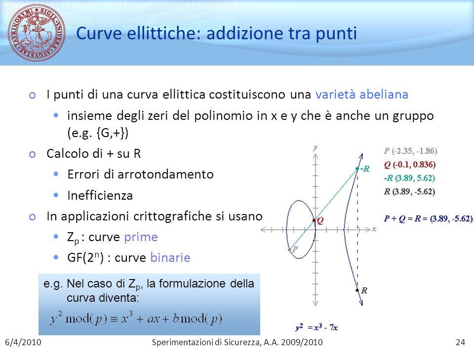 Sperimentazioni di Sicurezza, A.A. 2009/2010 Curve ellittiche: addizione tra punti oI punti di una curva ellittica costituiscono una varietà abeliana