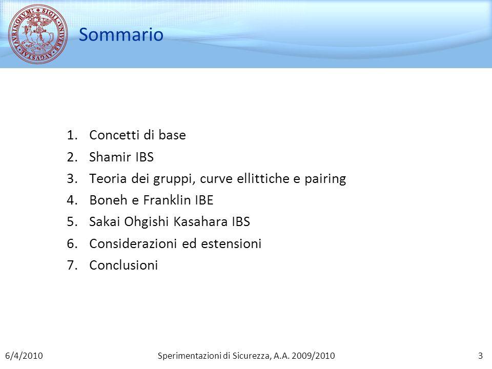 Sperimentazioni di Sicurezza, A.A. 2009/2010 Sommario 1.Concetti di base 2.Shamir IBS 3.Teoria dei gruppi, curve ellittiche e pairing 4.Boneh e Frankl