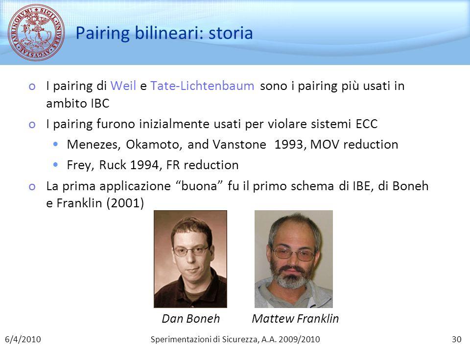 Sperimentazioni di Sicurezza, A.A. 2009/2010 Pairing bilineari: storia oI pairing di Weil e Tate-Lichtenbaum sono i pairing più usati in ambito IBC oI
