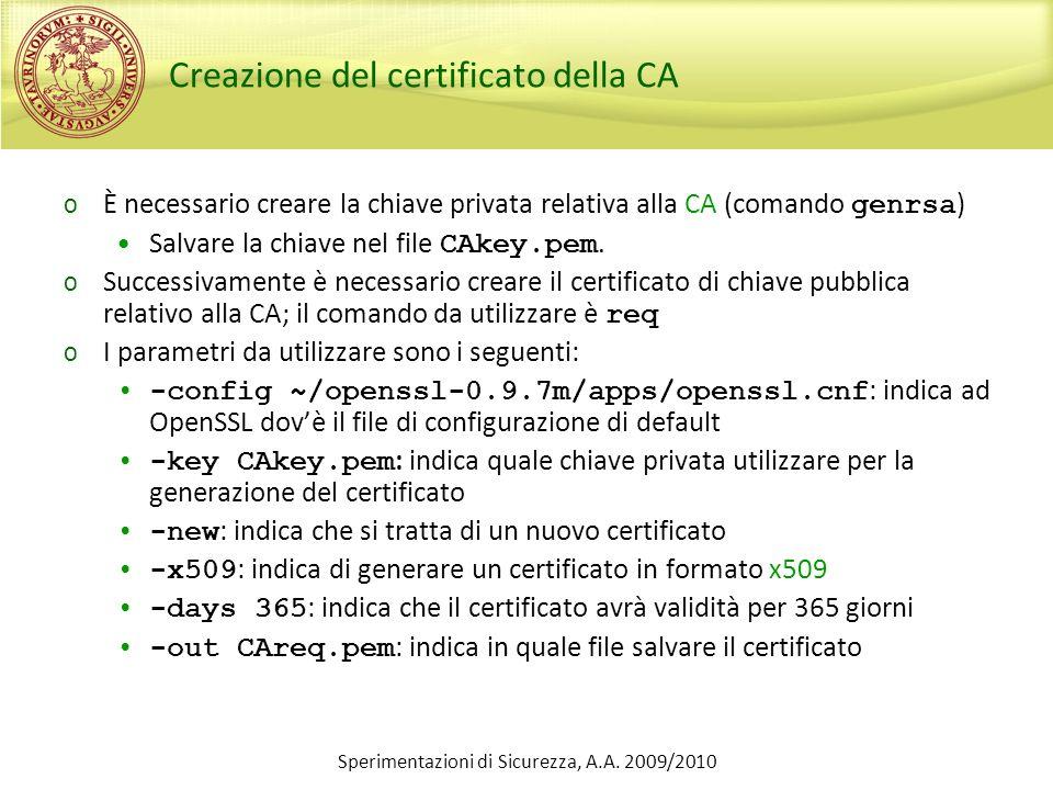 Sperimentazioni di Sicurezza, A.A.