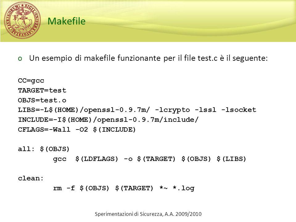 Sperimentazioni di Sicurezza, A.A. 2009/2010 Makefile o Un esempio di makefile funzionante per il file test.c è il seguente: CC=gcc TARGET=test OBJS=t