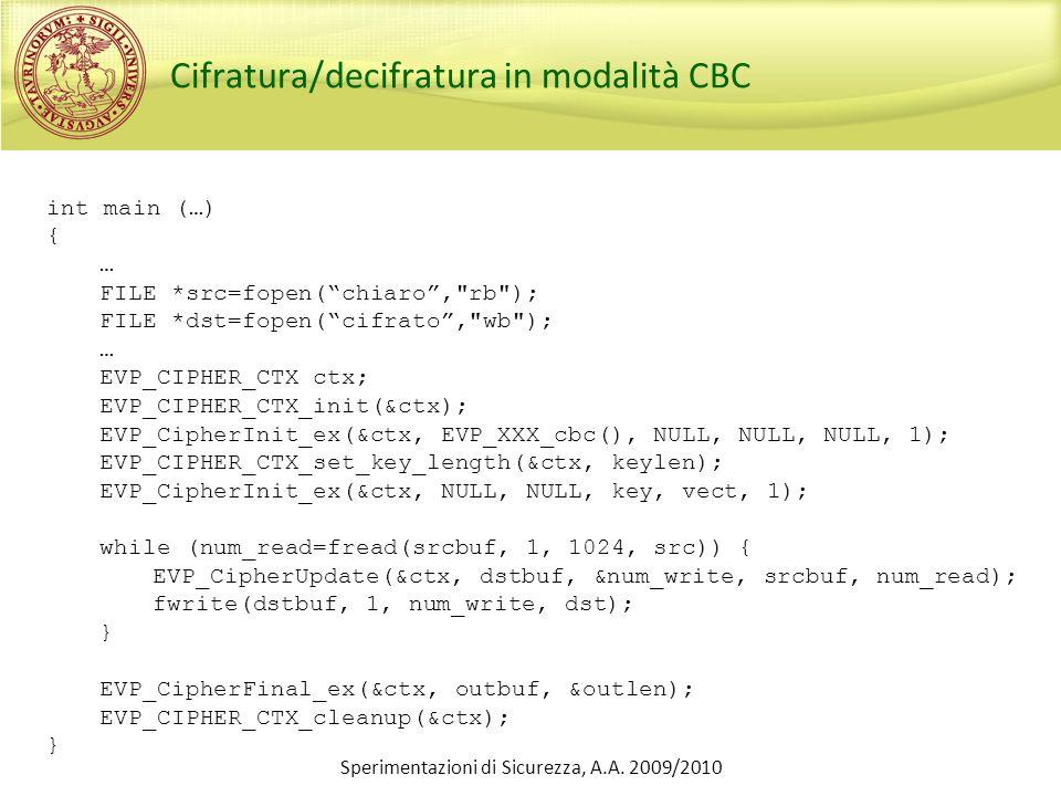 Sperimentazioni di Sicurezza, A.A. 2009/2010 Cifratura/decifratura in modalità CBC int main (…) { … FILE *src=fopen(chiaro,