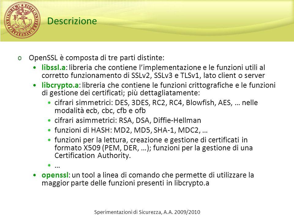 Sperimentazioni di Sicurezza, A.A. 2009/2010 Descrizione o OpenSSL è composta di tre parti distinte: libssl.a: libreria che contiene limplementazione
