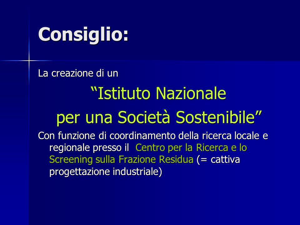 Consiglio: La creazione di un Istituto Nazionale per una Società Sostenibile Con funzione di coordinamento della ricerca locale e regionale presso il