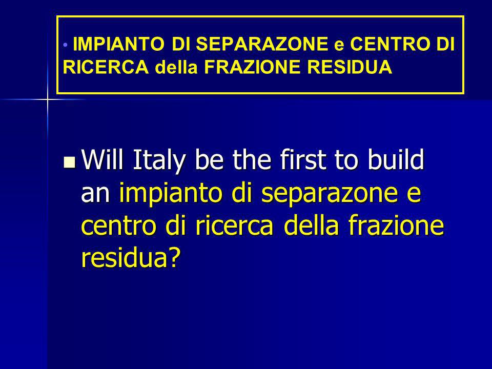 Will Italy be the first to build an impianto di separazone e centro di ricerca della frazione residua.