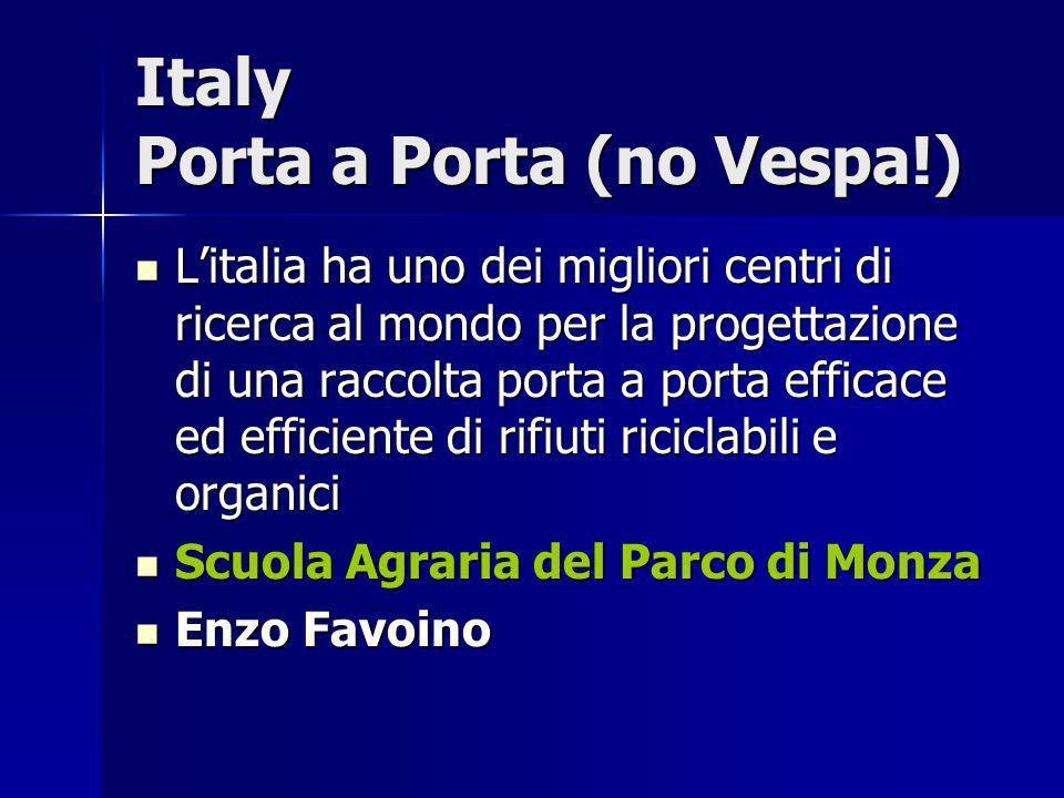 Italy Porta a Porta (no Vespa!) Litalia ha uno dei migliori centri di ricerca al mondo per la progettazione di una raccolta porta a porta efficace ed
