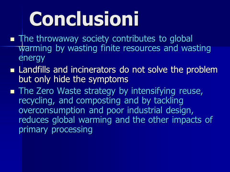 Conclusioni The throwaway society contributes to global warming by wasting finite resources and wasting energy The throwaway society contributes to global warming by wasting finite resources and wasting energy Landfills and incinerators do not solve the problem but only hide the symptoms Landfills and incinerators do not solve the problem but only hide the symptoms The Zero Waste strategy by intensifying reuse, recycling, and composting and by tackling overconsumption and poor industrial design, reduces global warming and the other impacts of primary processing The Zero Waste strategy by intensifying reuse, recycling, and composting and by tackling overconsumption and poor industrial design, reduces global warming and the other impacts of primary processing