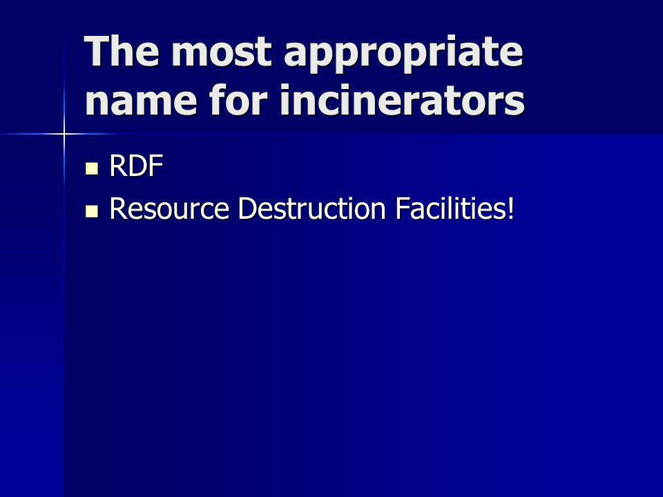 The most appropriate name for incinerators RDF RDF Resource Destruction Facilities.