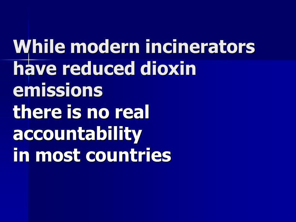 While modern incinerators have reduced dioxin emissions there is no real accountability in most countries