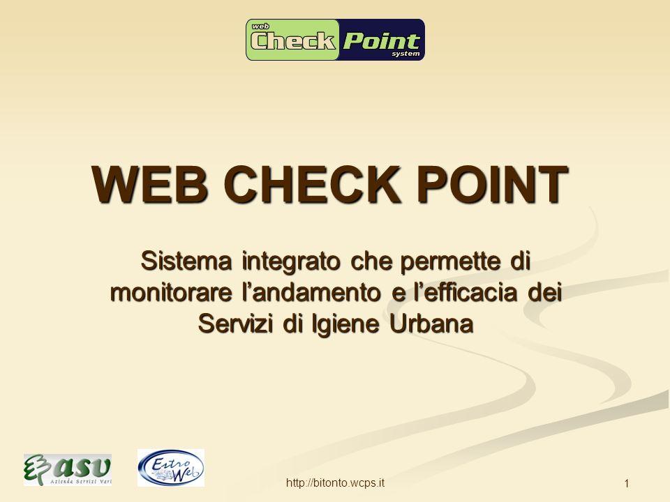 http://bitonto.wcps.it 1 WEB CHECK POINT Sistema integrato che permette di monitorare landamento e lefficacia dei Servizi di Igiene Urbana