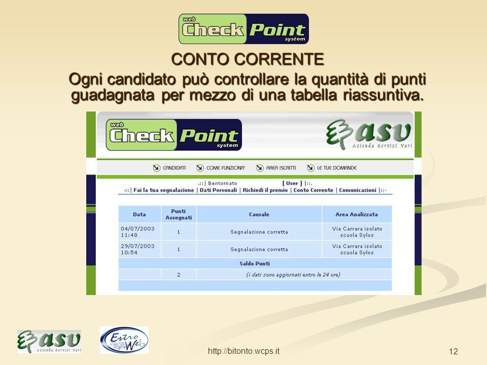 http://bitonto.wcps.it 12 CONTO CORRENTE Ogni candidato può controllare la quantità di punti guadagnata per mezzo di una tabella riassuntiva.