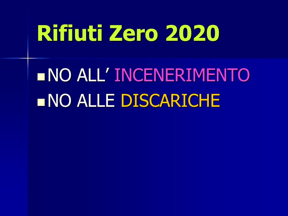 Rifiuti Zero 2020 NO ALL INCENERIMENTO NO ALL INCENERIMENTO NO ALLE DISCARICHE NO ALLE DISCARICHE