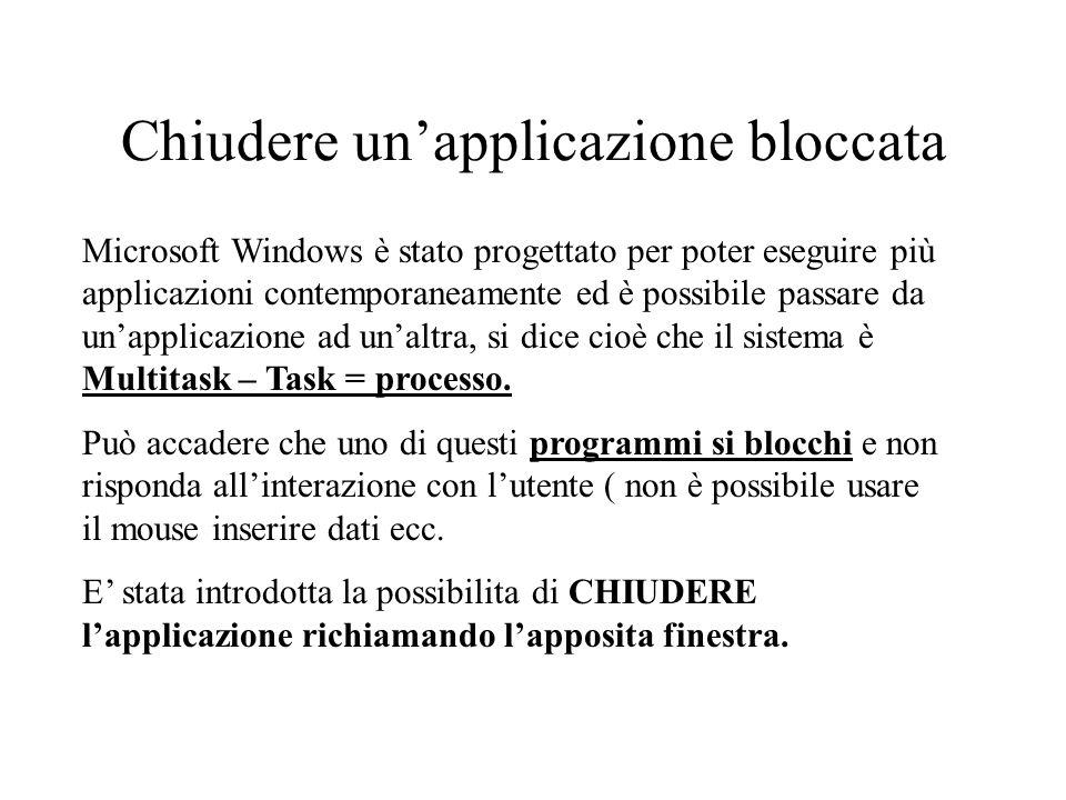 Chiudere unapplicazione bloccata Microsoft Windows è stato progettato per poter eseguire più applicazioni contemporaneamente ed è possibile passare da unapplicazione ad unaltra, si dice cioè che il sistema è Multitask – Task = processo.