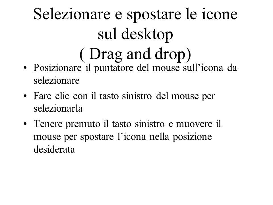 Selezionare e spostare le icone sul desktop ( Drag and drop) Posizionare il puntatore del mouse sullicona da selezionare Fare clic con il tasto sinistro del mouse per selezionarla Tenere premuto il tasto sinistro e muovere il mouse per spostare licona nella posizione desiderata