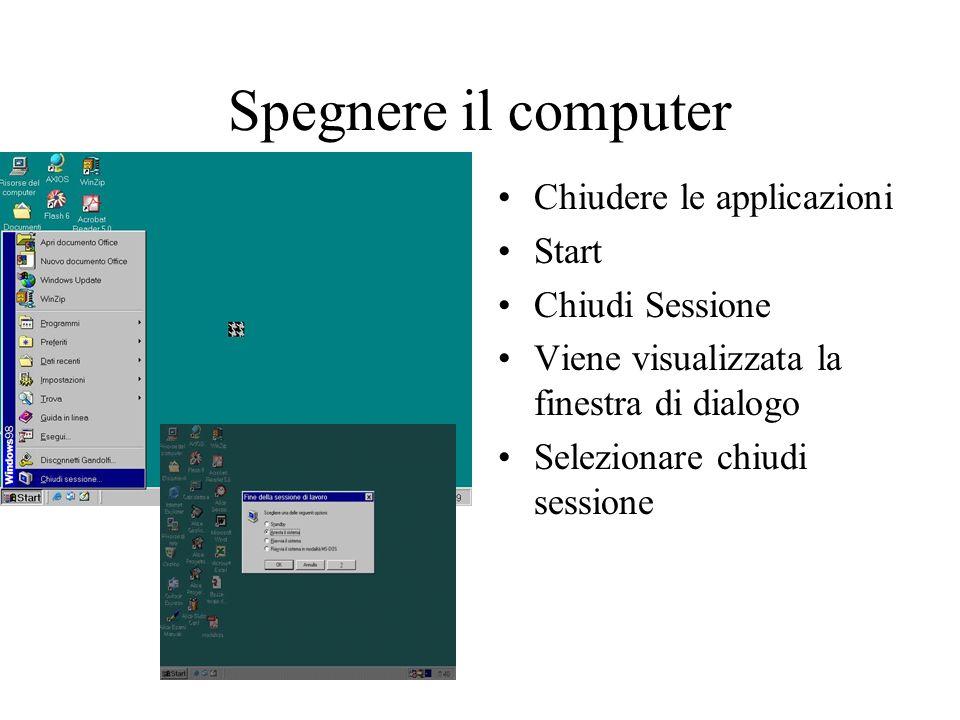 Spegnere il computer Chiudere le applicazioni Start Chiudi Sessione Viene visualizzata la finestra di dialogo Selezionare chiudi sessione
