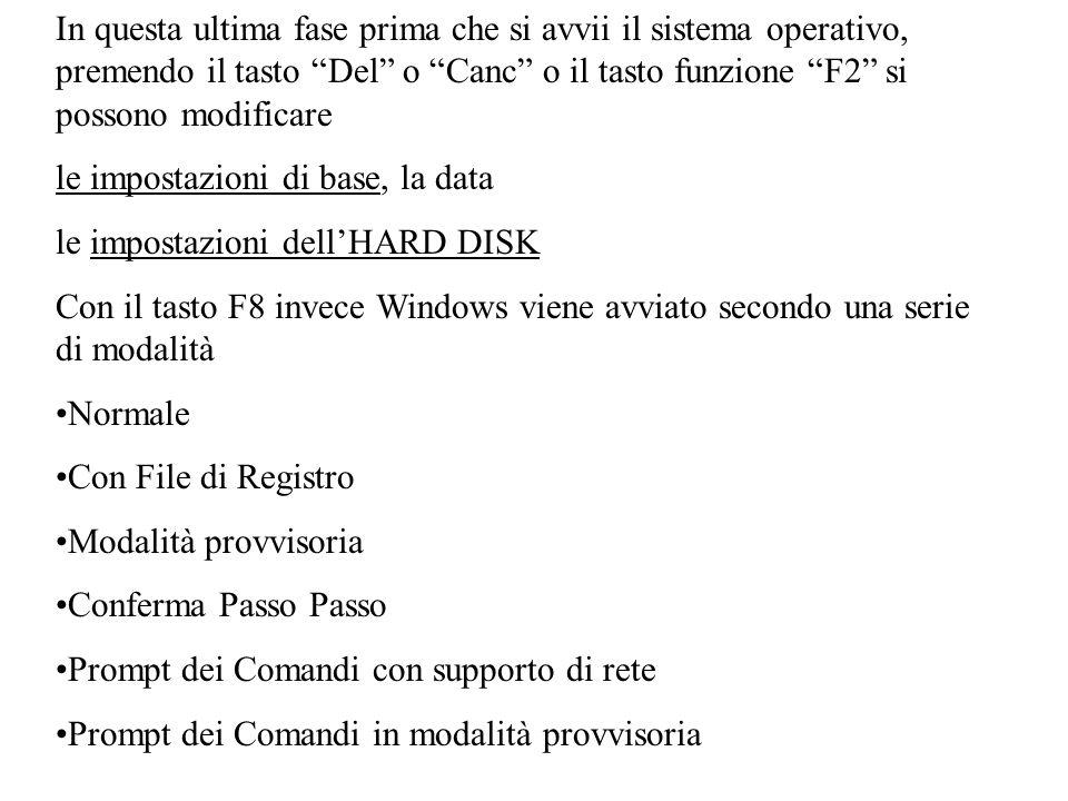 In questa ultima fase prima che si avvii il sistema operativo, premendo il tasto Del o Canc o il tasto funzione F2 si possono modificare le impostazioni di base, la data le impostazioni dellHARD DISK Con il tasto F8 invece Windows viene avviato secondo una serie di modalità Normale Con File di Registro Modalità provvisoria Conferma Passo Passo Prompt dei Comandi con supporto di rete Prompt dei Comandi in modalità provvisoria