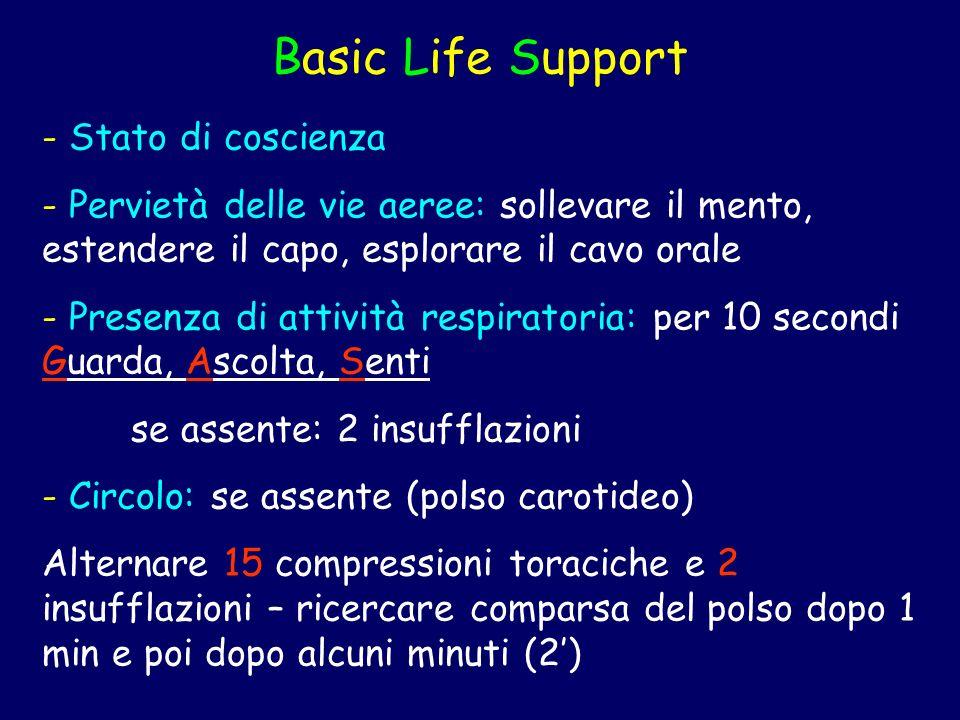 Basic Life Support - Stato di coscienza - Pervietà delle vie aeree: sollevare il mento, estendere il capo, esplorare il cavo orale - Presenza di attiv