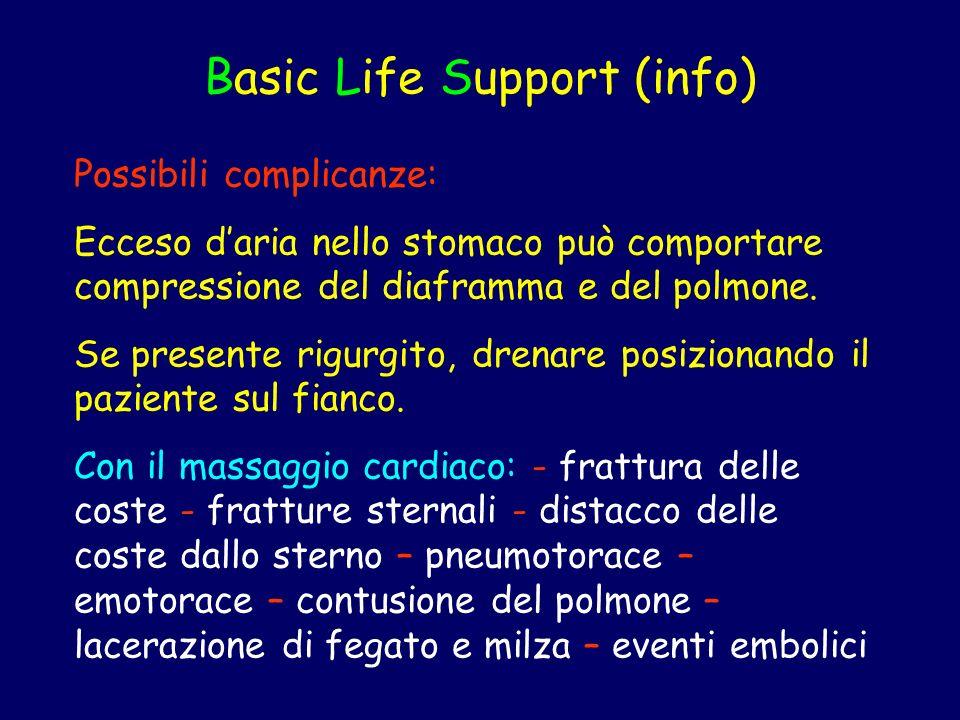Basic Life Support (info) Possibili complicanze: Ecceso daria nello stomaco può comportare compressione del diaframma e del polmone. Se presente rigur